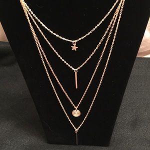 Jewelry - Pentagram Multilayer Goldtone Necklace New